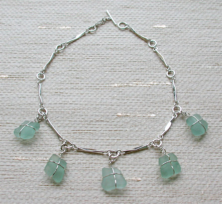 Sea glass jewelry in sterling silver and gold sarantos newport ri sterling silver and sea glass necklace aloadofball Choice Image