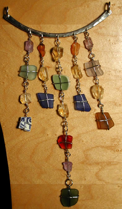 Sea glass jewelry in sterling silver and gold Sarantos Newport RI